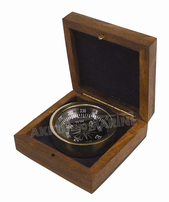 DECORATION COMPASS IN WOODEN BOX 3""